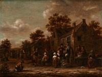 les marchands de volaille devant l'auberge by barend gael