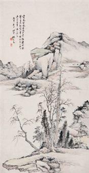 仿古山水 立轴 设色纸本 by yao shuping