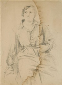 drawing young girl in overall by alexandr nikolaevich samokhvalov