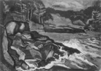 monhegan's rocky shore by fritz rockwell