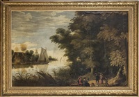 a wooded river landscape with picnickers by flemish school