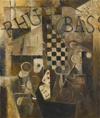 nature morte au damier/rhum/bass by louis marcoussis