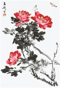 butterflies and flowers by wang xuetao