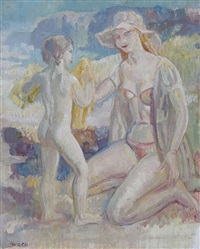 mother and child at the beach by arthur murch