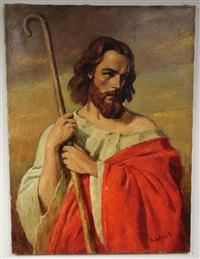 shepherd with staff by miklos (nickolas) mihalovits