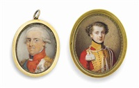 a young officer in red military jacket with gold collar and frogging, white tassles, together with frederick i (1750-1827), king of saxony, in red-bordered white coat with gold epaulettes, wearing the green sash and the breast-star of the royal saxon order by moritz krantz