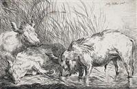 schweine am weiher, pl.4 (from von schweinen mit ihren hirten) by friedrich müller