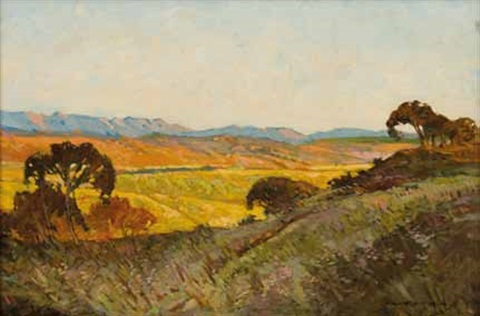 extensive landscape at dusk by william mitcheson timlin