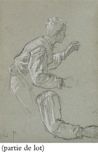 jeune homme en buste et reprise de ses mains tenant un bâton by charles monginot