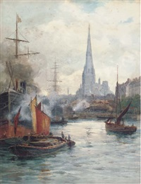 redcliffe church from the harbour by reginald smith
