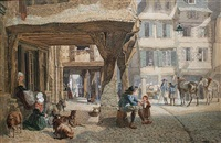 a market square in brittany by samuel john hodson