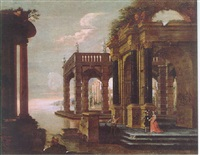 an architectural capriccio with elegant figures on the steps of a classical palace, a mediterranean harbour beyond by vicente giner