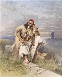 griechischer archont (herrscher) auf einer gestürzten säule sitzend by cesare felix georges dell' acqua