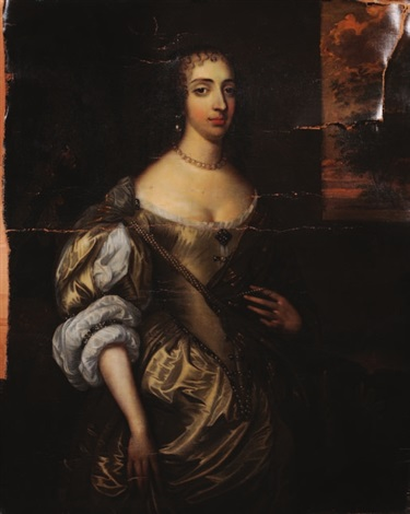 the hon mrs grimston afterwards lady elizabeth grimston three quarter length standing portrait wearing bejewelled satin dress landscape background by sir peter lely