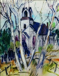 view of a church through the birches by william weldon swallow