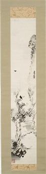 raven in wilting tree by mokubei aoki