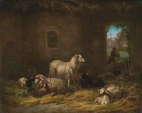 schafe im stall by louis (ludwig) reinhardt