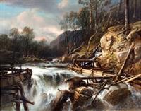 waterval bij een gebroken dam, mogelijk in noorwegen by jacob jacobs