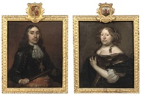 portait of hendrik de sandra in black armour and a white lace jabot (+ portrait of margaretha de sandra; pair) by pieter van anraedt
