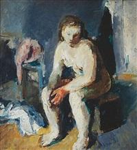 sitting nude by frantisek jiroudek