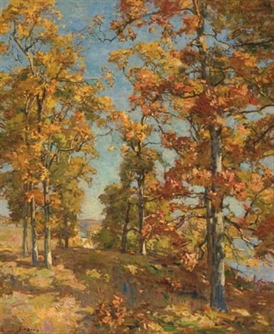 a view to the river autumn by charles harold davis