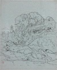 vue d'une colline dans la campagne romaine (+ 7 others; 8 works) by jean achille bénouville