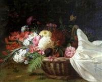 fleurs dans un panier by jean baptiste (joannes) cornillon