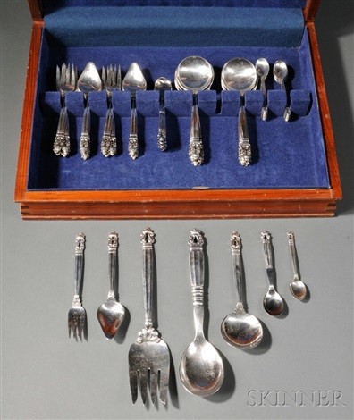 acorn flatware set of 56 by georg jensen co