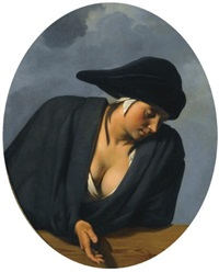 a peasant woman wearing a black hat, leaning on a wooden ledge by cesar boetius van everdingen