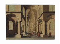 a church interior with christ driving out the moneylenders by hans jurriaensz van baden