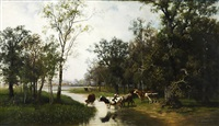 cattle at a creek by mikhail konstantinovich klodt von jurgensburg