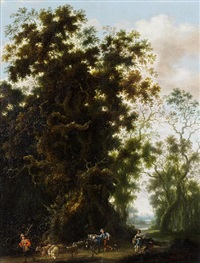 a wooded landscape with a shepherd and his flock on a country path by joachim govertsz camphuysen