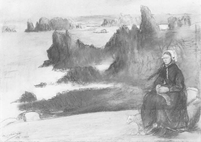 bretonne assise près de la mer à ouessant by charles edmond theodore milcendeau