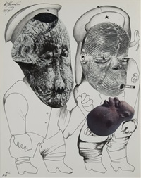two soldiers with african mask faces by mihail chemiakin