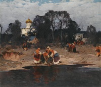 women by a lake by stepan feodorovich kolesnikov