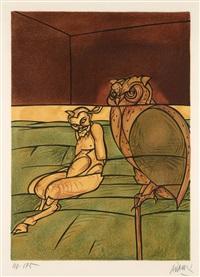 joueur de flûte - homme à la fleur - faune et hibou (set of 3) by valerio adami