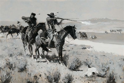 the pack horse men repelling an attack by indians by frederic remington