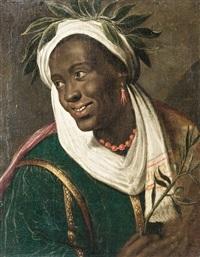 bildnis eines mit lorbeer bekränzten schwarzen, der einen olivenzweig in der hand hält by albert van der eeckhout