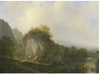 travellers resting on a country path, a landscape beyond by johannes warnardus bilders