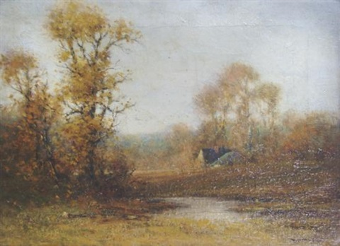 open field with cottage by edward loyal field