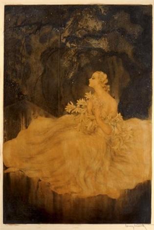 jeune femme au lys by louis icart