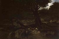 hirte mit seiner schafherde unter einer eiche by josef krieger