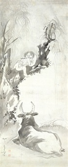 oxherd serenading an ox by shohaku