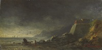 a coastal landscape under a dark sky, near audresselles by louis leon nicolas verreaux