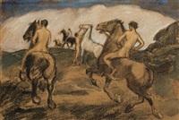 riders in a landscape by ludwig von hofmann