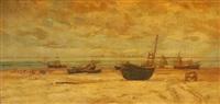 bateaux de pêche sur la plage by louis artan de saint-martin