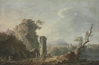 an italianate landscape with figures on a river bank, a hilltop church and a roman aqueduct beyond by carlo bonavia
