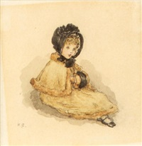 a child wearing a black bonnet (study) by kate greenaway