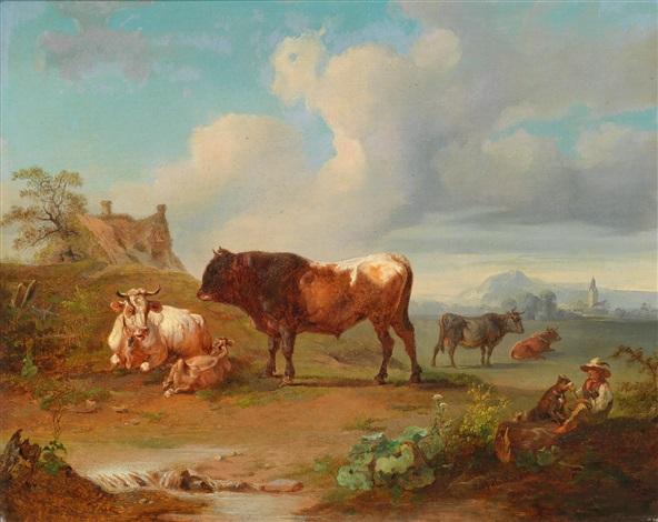 weideszene mit einem stier und einem hütejungen by joseph heicke