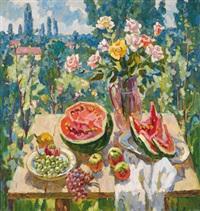 stilleben mit wassermelone by stanislav fomenok